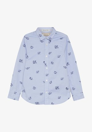 STRETCH OXFORD LONG SLEEVE WITH ALL OVER PRINT - Shirt - blue