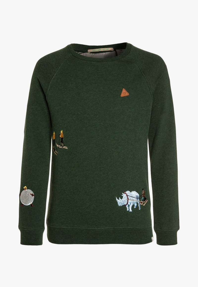 Scotch Shrunk - CREW NECK WITH PLACED EMBROIDERIES - Sweatshirt - military melange