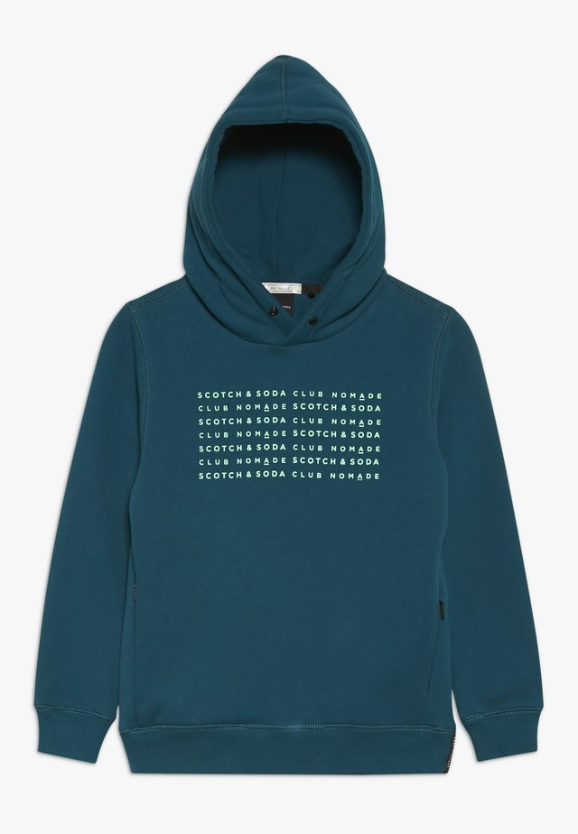 CLUB NOMADE HOODY WITH ZIP POCKETS AND ARTWORKS - Mikina skapucí - teal