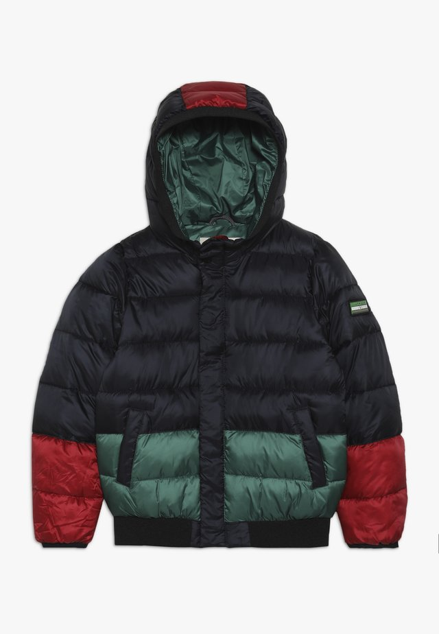 COLOUR BLOCK PADDED JACKET WITH HOOD - Winter jacket - black/green/red