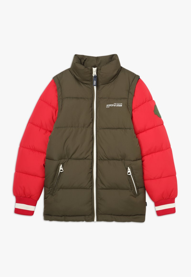 Scotch & Soda - COLOUR BLOCK JACKET WITH DETACHABLE SLEEVES - Winterjas - green/red