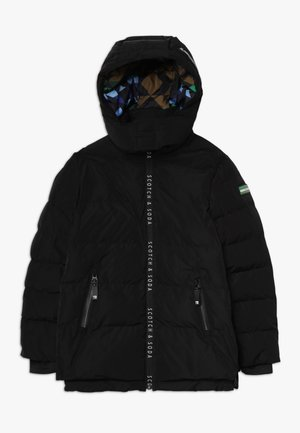 JACKET WITH PRINTED ZIPPERS AND DETACHABLE HOOD - Winter jacket - black