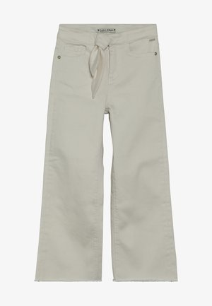 HIGH WAIST WIDE LEG WITH SHELL FABRIC TIE - Jeans a zampa - off white