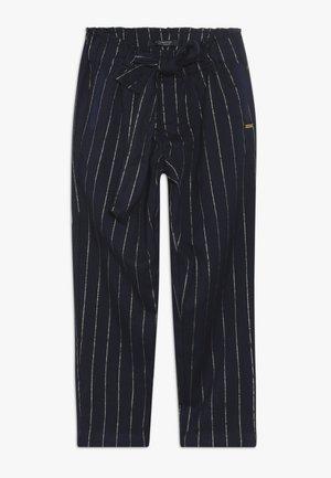 RELAXED SLIM FIT PINSTRIPE PANTS WITH BOW DETAIL - Broek - dark blue