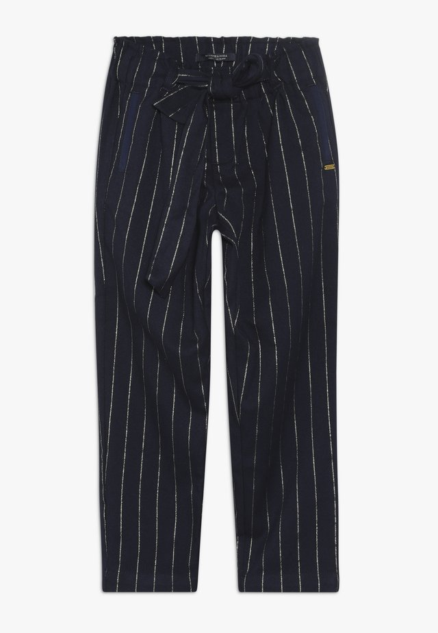 RELAXED SLIM FIT PINSTRIPE PANTS WITH BOW DETAIL - Pantalon classique - dark blue
