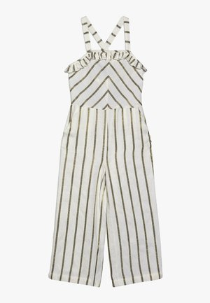 WIDE LEG ALL IN ONE WITH RUFFLES IN DYED STRIPE - Jumpsuit - white/gold
