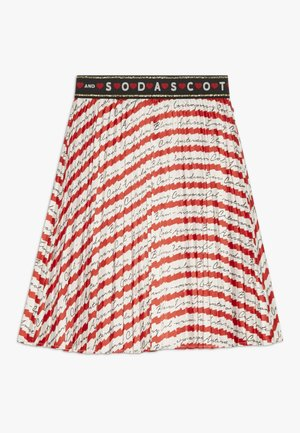 PLEATED PLISSE SKIRT - A-line skirt - red/off white