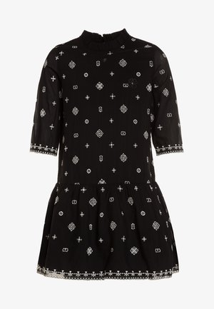 EMBROIDERED DRESS WITH 3/4 SLEEVES - Blusenkleid - black