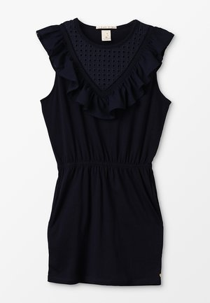 WOVEN MIX DRESS WITH EMBROIDERY ANGLAISE FRONT YOKE - Jerseykjoler - night