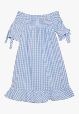 OFF SHOULDER CRISPY DRESS WITH SMOCK DETAIL - Day dress - blue/white