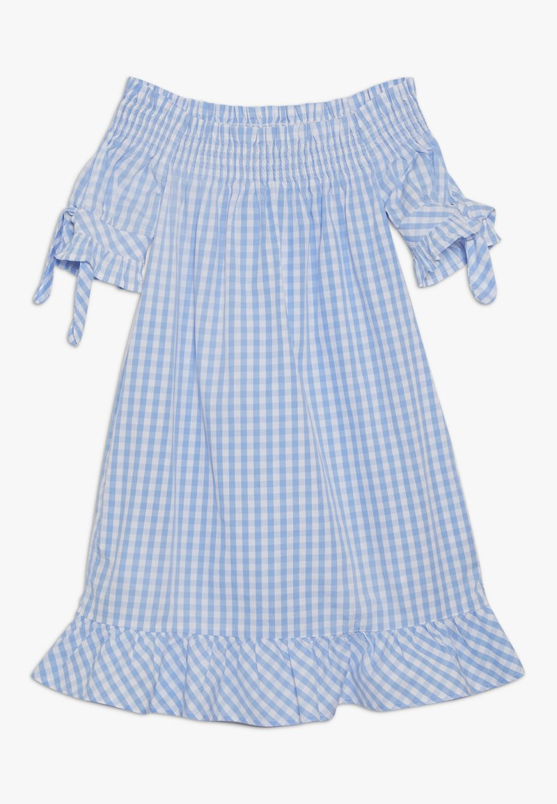 Scotch & Soda - OFF SHOULDER CRISPY DRESS WITH SMOCK DETAIL - Korte jurk - blue/white