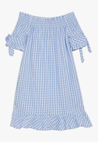 Scotch & Soda - OFF SHOULDER CRISPY DRESS WITH SMOCK DETAIL - Korte jurk - blue/white - 1
