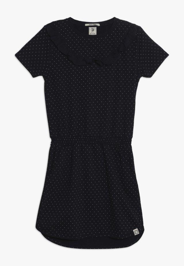 DRESS WITH RUFFLES - Jerseyjurk - dark blue