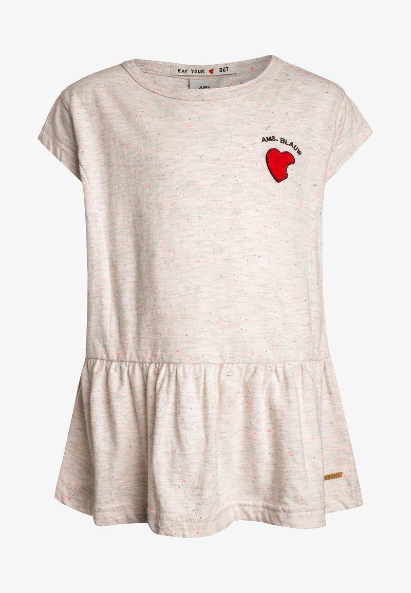 Scotch R'Belle - SHORT SLEEVE TEE WITH RUFFLES BOTTOM - T-shirts print - ecru melange