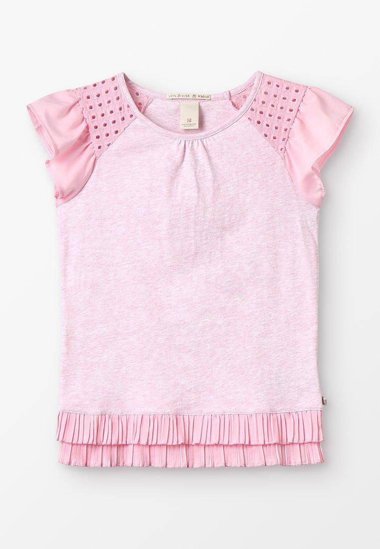 Scotch & Soda - MIXED TEE WITH PLEATED HEM - T-shirts med print - flamingo melange