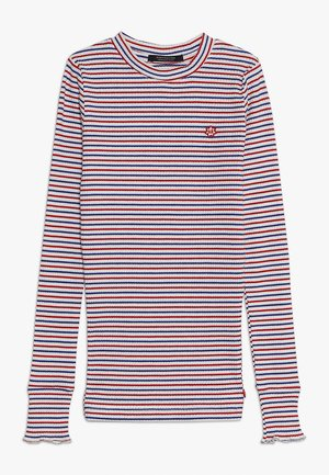 STRIPED TEE WITH RUFFLE AT THE BOTTOM OF THE SLEEVE - Long sleeved top - white/red/blue