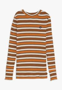 Scotch & Soda - STRIPED TEE WITH RUFFLE AT THE BOTTOM OF THE SLEEVE - Langærmede T-shirts - offwhite/dark yellow - 0