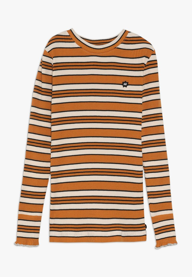 Scotch & Soda - STRIPED TEE WITH RUFFLE AT THE BOTTOM OF THE SLEEVE - Langærmede T-shirts - offwhite/dark yellow