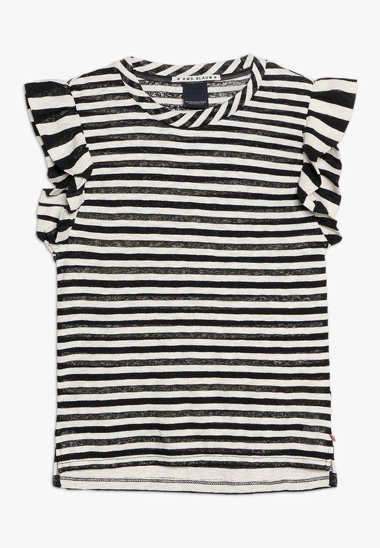 Scotch & Soda - STRIPED TEE WITH RUFFLE SLEEVE - T-Shirt print - off white/black