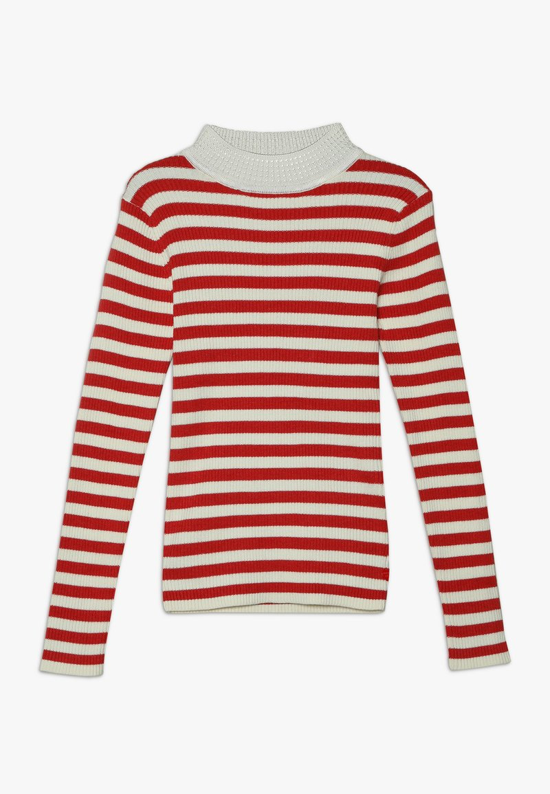 Scotch & Soda - HIGH NECK PULL - Strickpullover - red/off white
