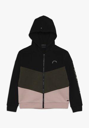 HOODED COLOR BLOCK WITH ZIP - Mikina na zip - black/light pink