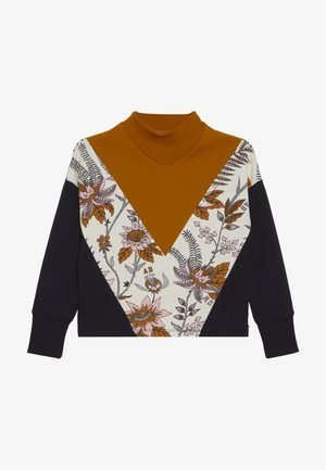 COLOUR BLOCK WITH TURTLE NECK AND FLORAL PRINT PANEL - Maglietta a manica lunga - mustard yellow/black/off-white