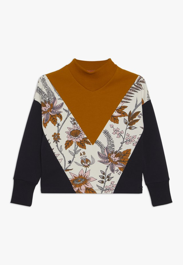 COLOUR BLOCK WITH TURTLE NECK AND FLORAL PRINT PANEL - Longsleeve - mustard yellow/black/off-white