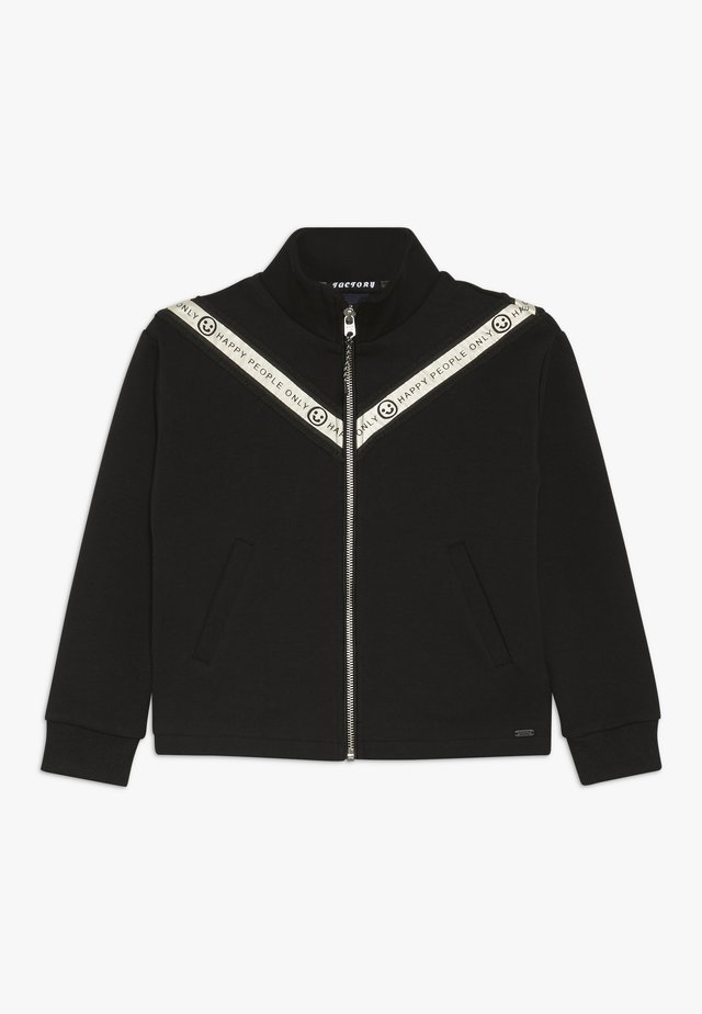 SPORTY ZIP THROUGH SWEAT WITH TAPE DETAILS - Cardigan - black