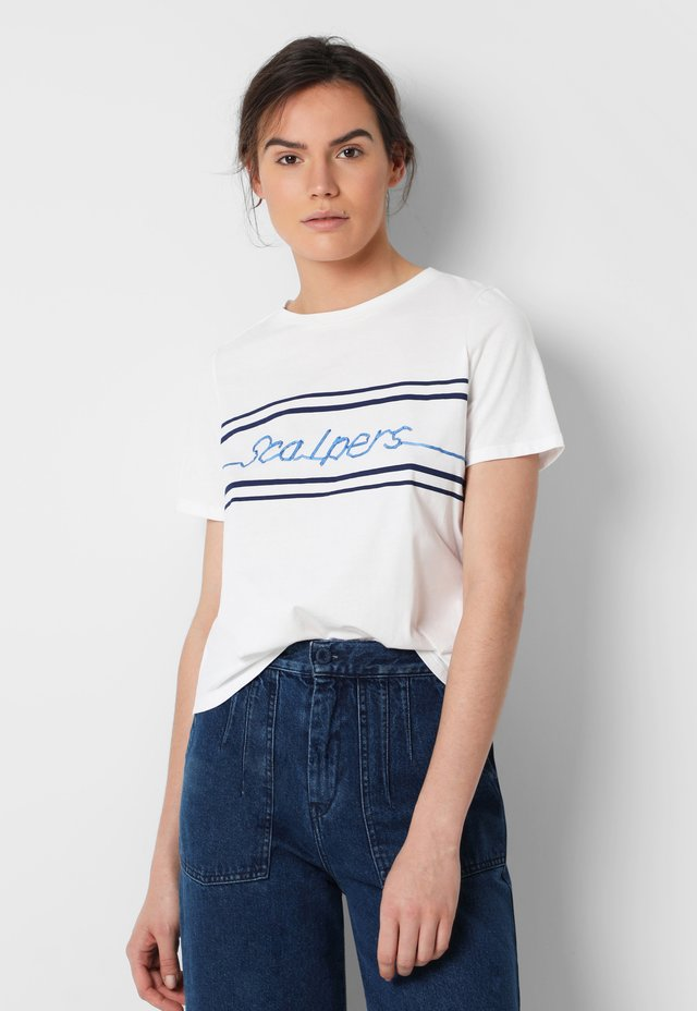 RIBBON LOGO  - T-shirt imprimé - white/blue