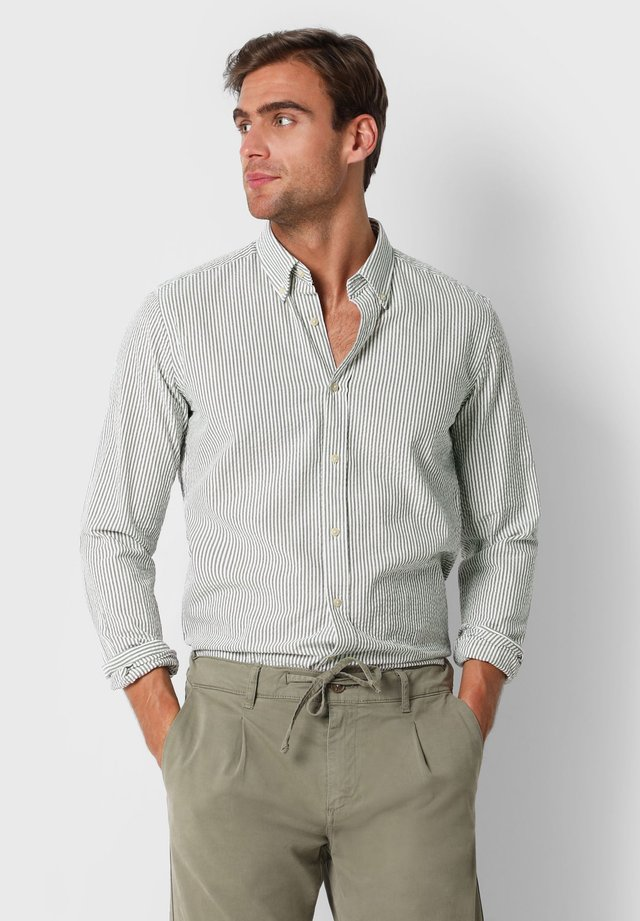 SCALPERS TEXTURED STRIPED SHIRT - Overhemd - khaki stripes
