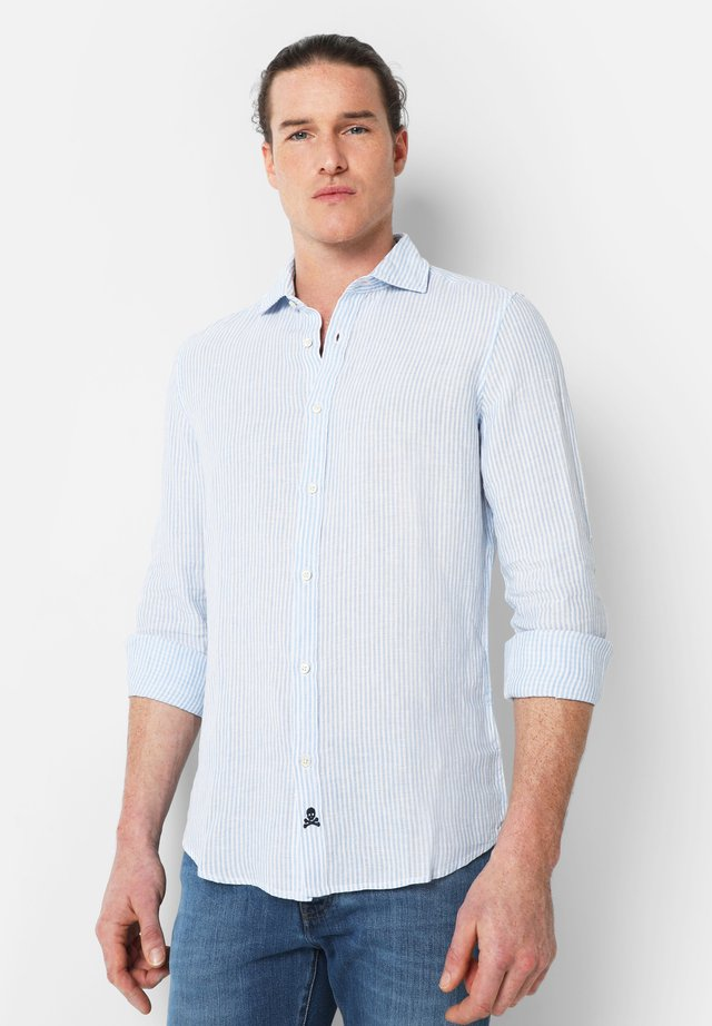 STRIPED LINEN SHIRT - Camicia - white blue stripes