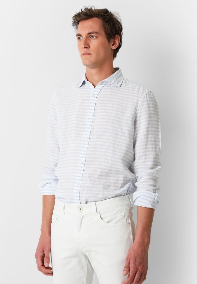STRIPED LINEN SHIRT - Camicia - light blue stripes