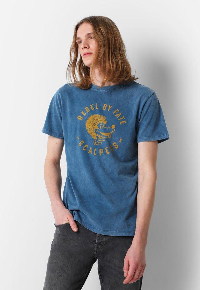 WITH ROUND  - T-shirt imprimé - navy