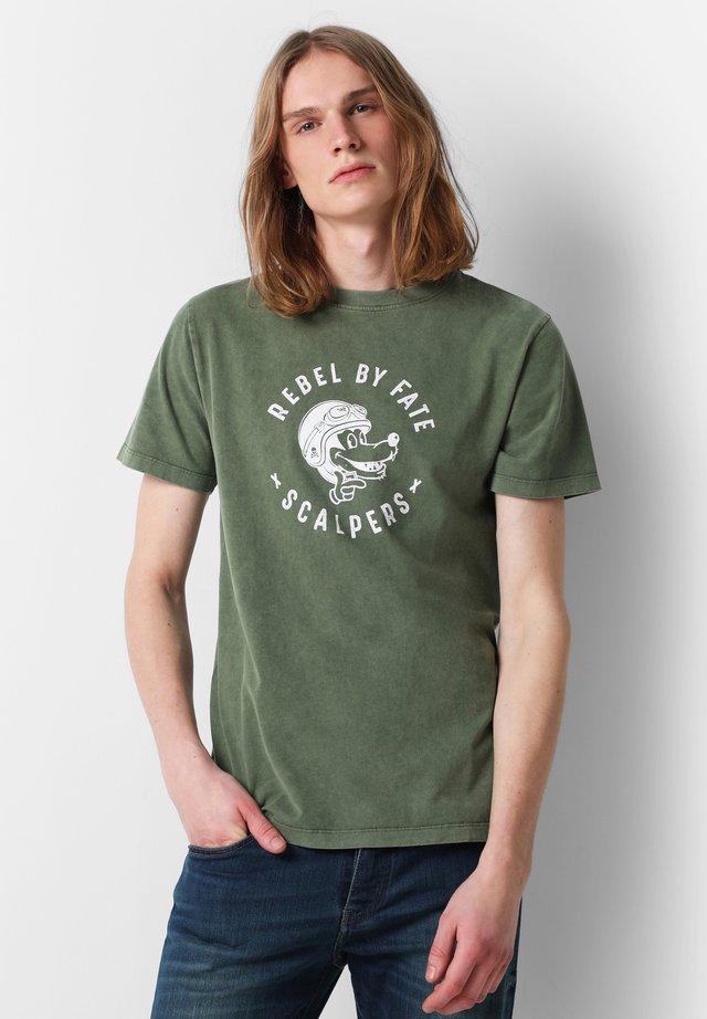 WITH ROUND  - T-shirt imprimé - khaki