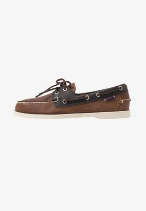 MAPPLE - Boat shoes - cognac/blue navy