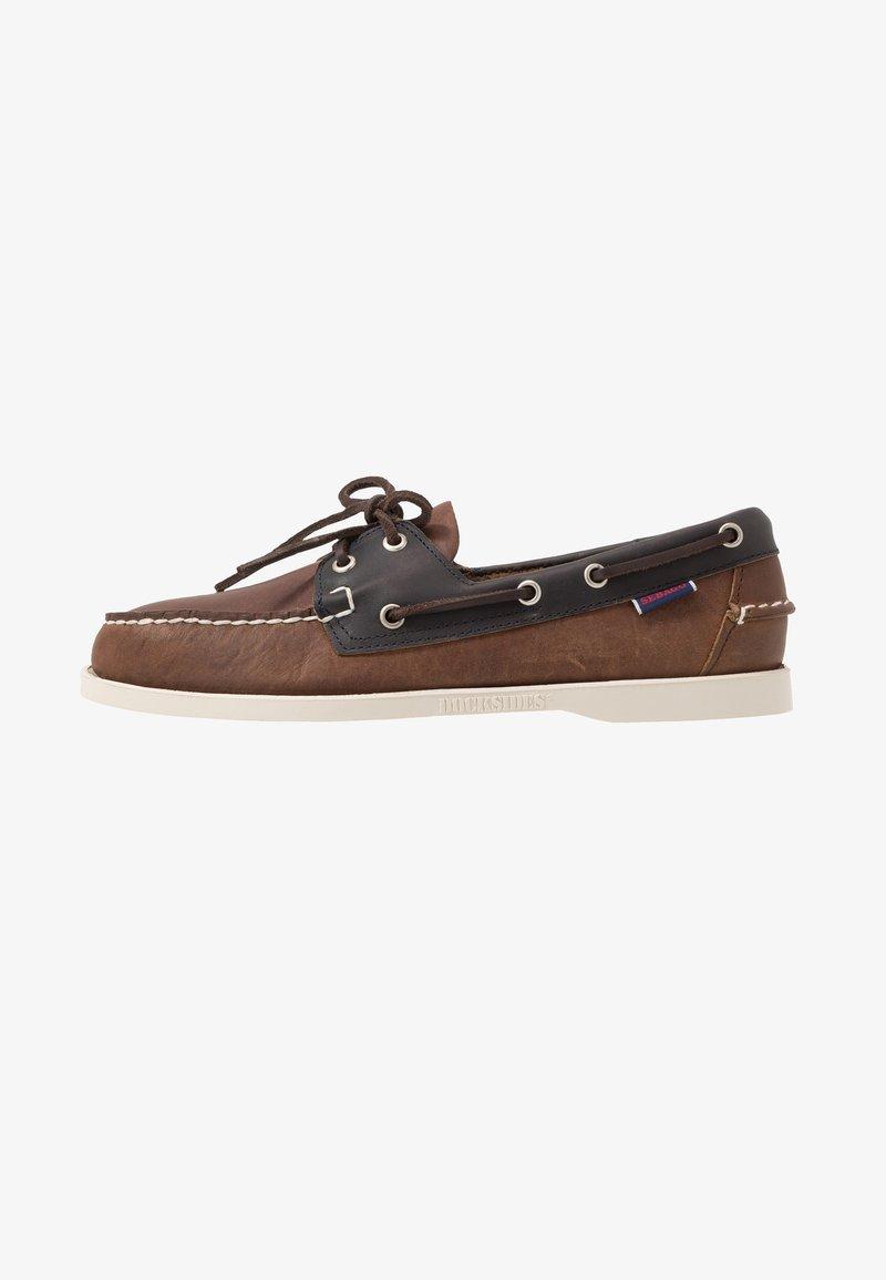 Sebago - MAPPLE - Chaussures bateau - cognac/blue navy