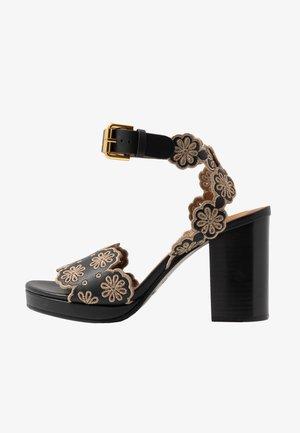Sandalen met hoge hak - nero/taupe