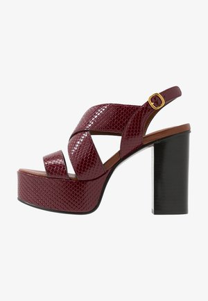 Sandalen met hoge hak - bordeaux
