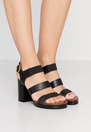Sandalen met hoge hak - glitter/nero