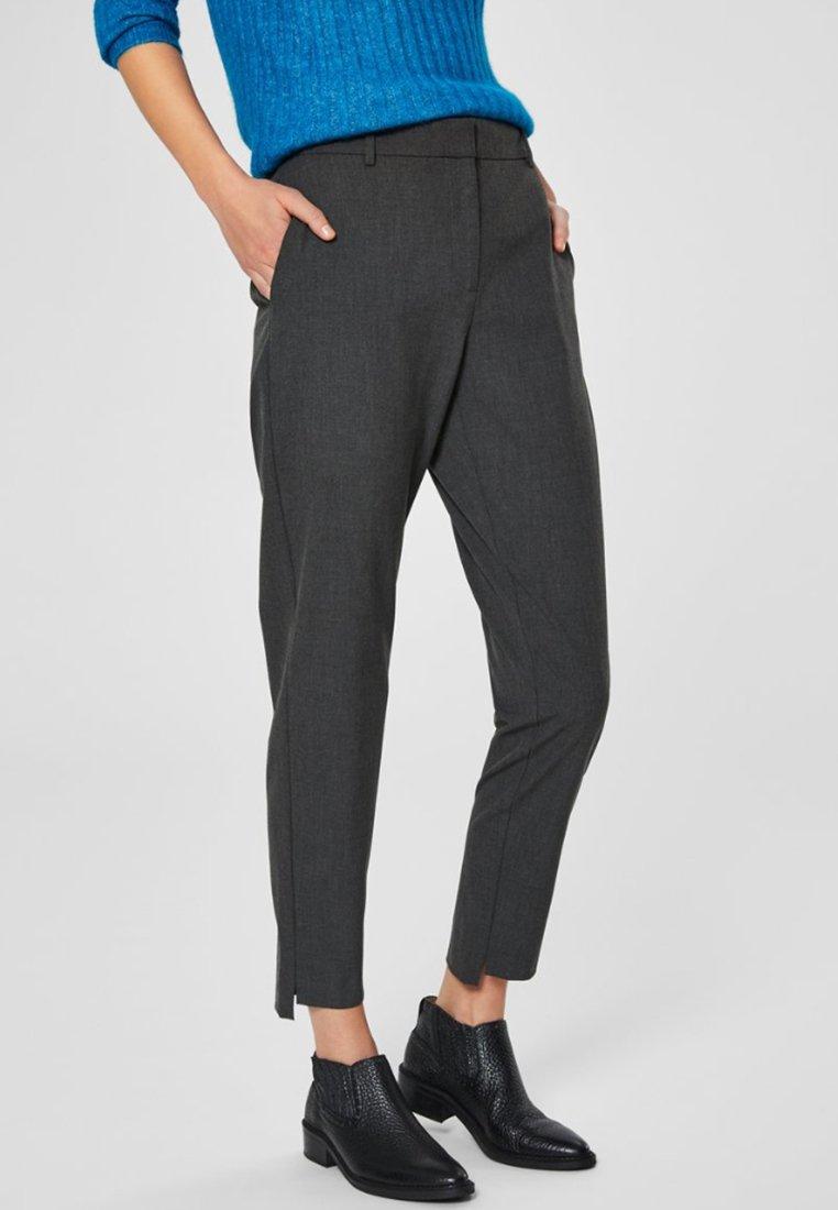 Selected Femme - MID WAIST - Spodnie materiałowe - dark grey