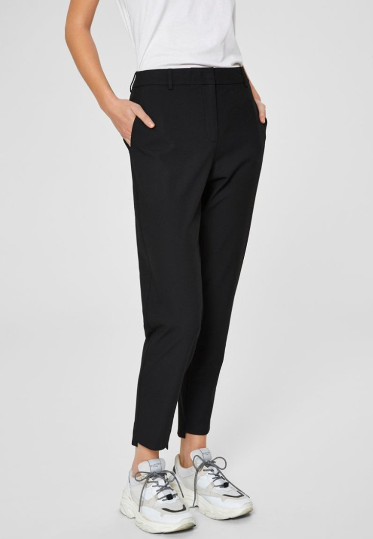 Selected Femme - MID WAIST - Trousers - black