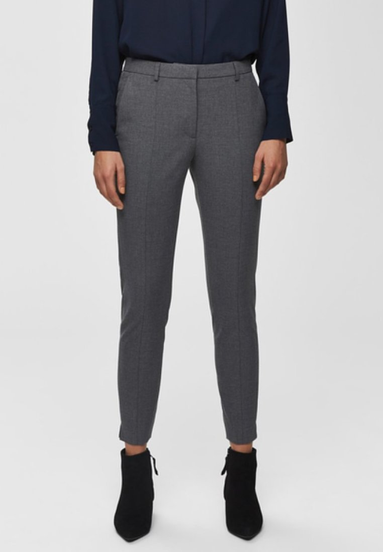 Selected Femme - MID WAIST - Trousers - medium grey melange