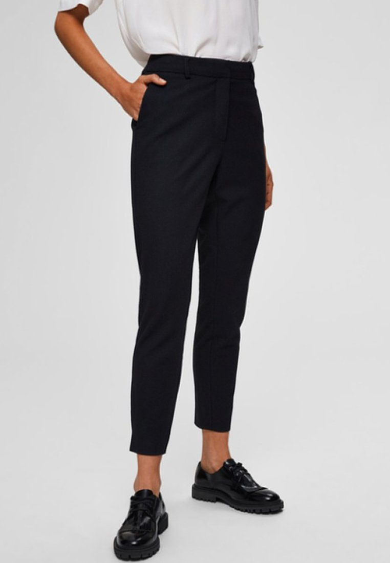 Selected Femme - HOSE CROPPED - Trousers - night sky