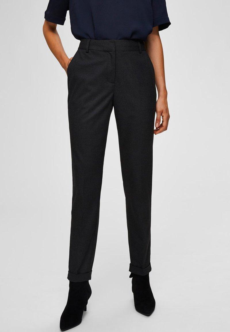 Selected Femme - Trousers - dark grey melange