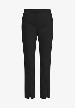 SLFABBY SLIT PANT - Kalhoty - black