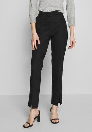 SLFABBY SLIT PANT - Pantalones - black