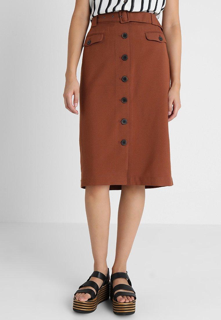 Selected Femme - SLFLINNY MIDI SKIRT - Blyantnederdel / pencil skirts - tortoise shell