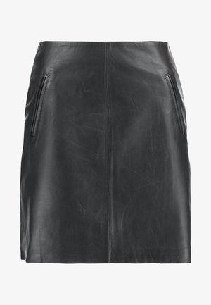 SLFNINI SKIRT - Falda de cuero - black