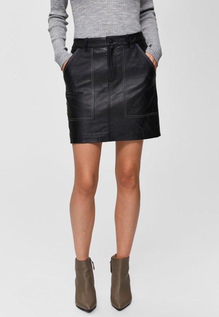 Selected Femme - LEDERROCK  - Leather skirt - black