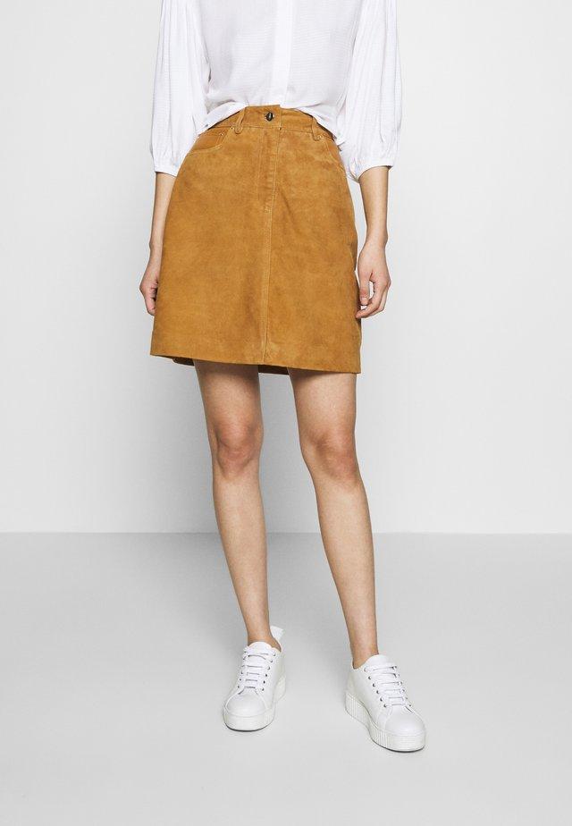 SLFLOVE SUEDE SKIRT - Spódnica mini - bronze brown